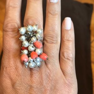 Pearl and coral ring